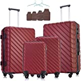 4 Piece Luggage Sets - Carry On Luggage ABS Hardshell Lightweight Durable Luggage with Spinner Wheels Free Suitcase Cover(18