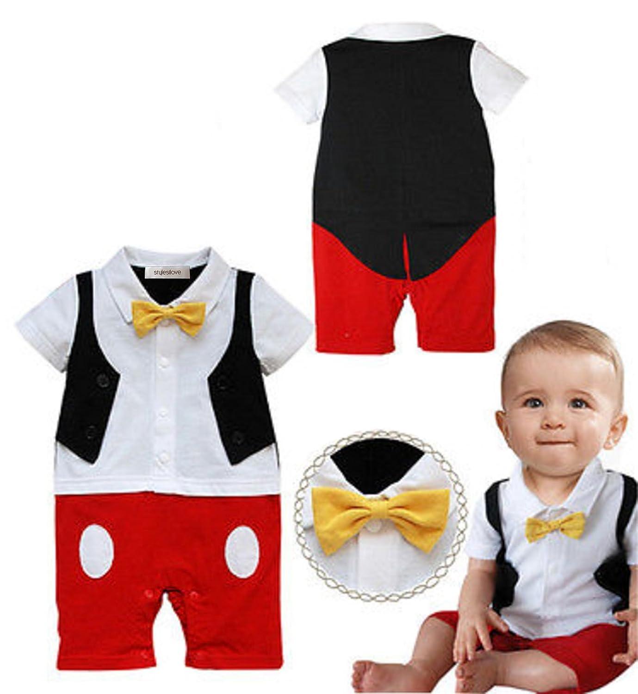Amazon StylesILove Baby Boy Bowtie Cartoon Prop Romper