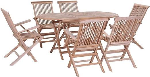WENXIA Juego de mesa de comedor y sillas plegables de madera de teca de 7 plazas, juego de muebles de jardín de 6 plazas, juego de mesa de comedor de madera maciza: