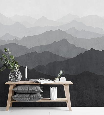 Mountain Mural Wall Art Wallpaper Black White Peel And