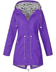 OSYARD Rain Jacket Women Windbreaker Striped Climbing Raincoats Waterproof Lightweight Outdoor Hooded Trench Coats Winter Women Casual Coat