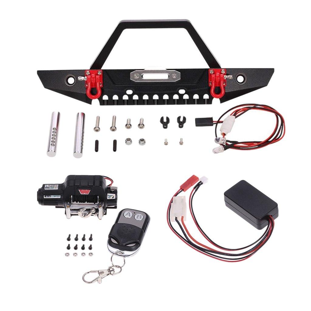 D DOLITY Set de Parachoque Delantero Cabrestante Mando a Distancia LED para 1/10 RC Car Axial SCX10