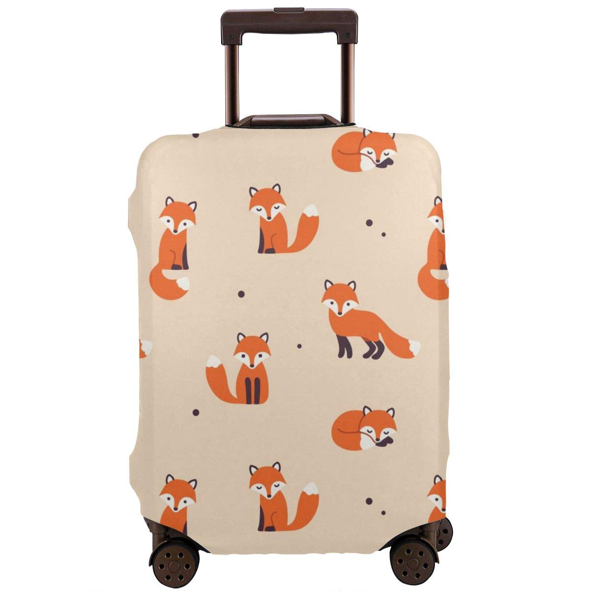 Cartoon Foxes Travel Luggage Cover Suitcase Protector Washable Zipper Baggage Cover