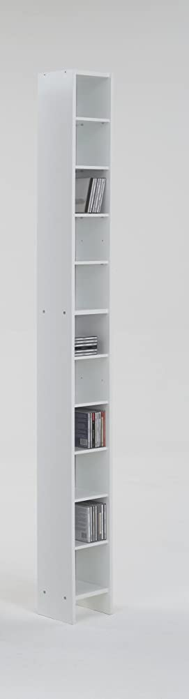 Tall And Vertical White Colour Wood Freestanding Adjustable Shelf Book CD  DVD Media Storage Tower Unit