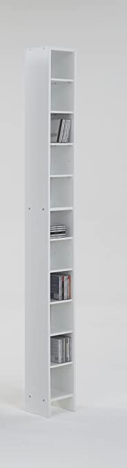 Tall And Vertical White Colour Wood Freestanding Adjustable Shelf Book CD  DVD Media Storage Tower Unit By DMF: Amazon.co.uk: Kitchen U0026 Home