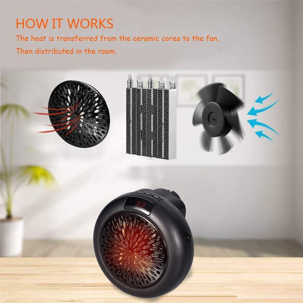 Chambre Appartement Noir 1000 W Mini Chauffage Portable pour Salle de Bain Bureau Chauffage dappoint avec Temp/érature Constante automatique Radiateur Soufflant Electrique