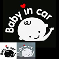(2枚セット)Baby in carステッカー 反射ステッカー ベイビーインカー セーフティーサイン 赤ちゃんが乗っています 事故防止用ステッカー シール ステッカー 生活防水性  個性的
