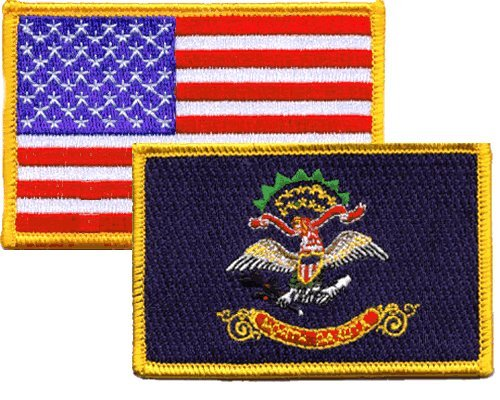 North Dakota/USA Flag iron-on emboidered patch combo pack