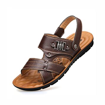 4b4a5a45ed04d Mens Leather Sandals Outdoor Shoes Summer Sports Athletic Footwear Exposed  Toe Beach Sandals Non-Slip