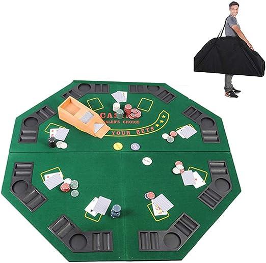 KOUPA Diseño de octágono de Mesa Plegable de Texas Poker -con Bolsa de Transporte, con portavasos, Regalo Informal 8 Jugadores para Blackjack - Juego Familiar, 47 Pulgadas: Amazon.es: Hogar
