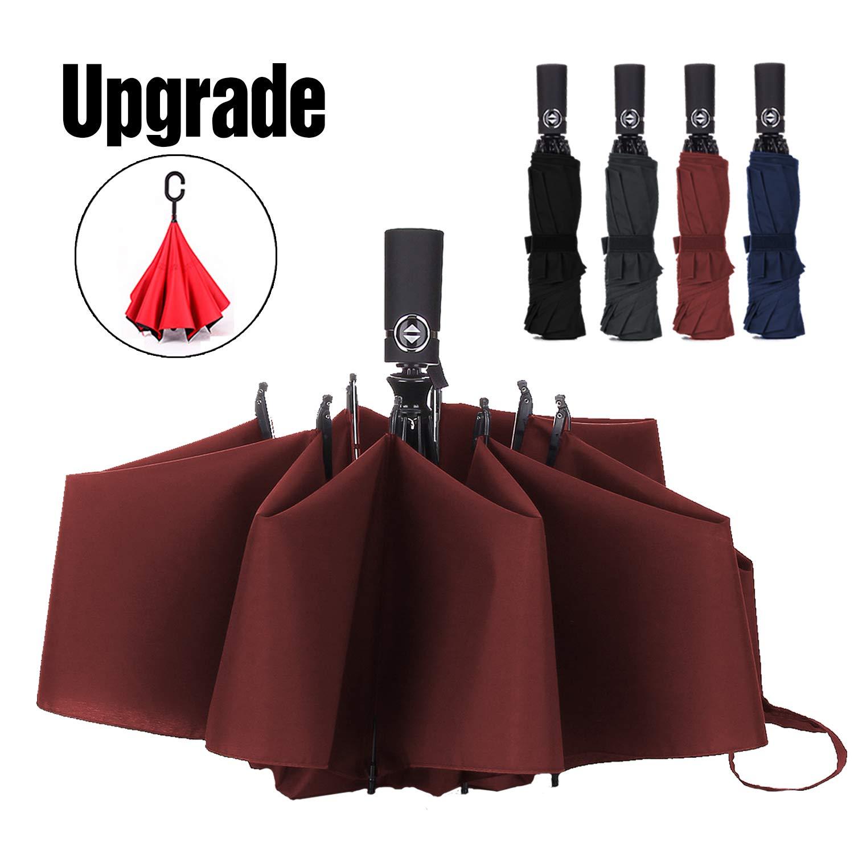 Umbrella Reverse Travel Umbrellas Windproof Compact Folding-Burgundy