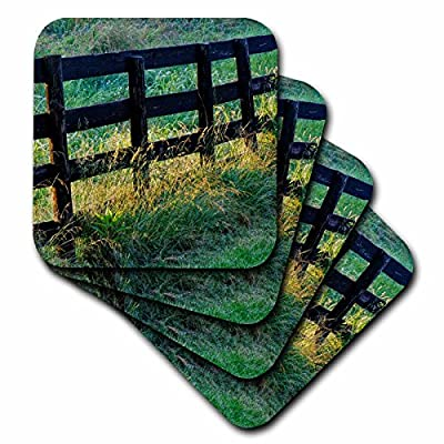 3dRose Danita Delimont - Fences - Wooden fence on a farm, Oldham County, Kentucky - Coasters