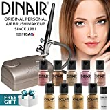 Dinair Airbrush Makeup Professional Kit | Medium Shades | 10pc Make-up Set | Multi-Purpose for Foundation, Blush, Shimmer, Concealer, Eyeliner | Plus Shadow/Brow Stencils