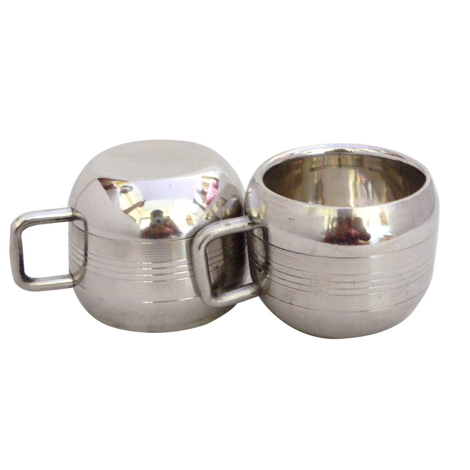 Double Walled Stainless Steel Coffee and Tea Mug,Coffee /& Tea Cup Mug - Set of 2,Valentine Day Gifts Silver Insulated Cups with Handles Keep Drinks Hot or Cold Longer