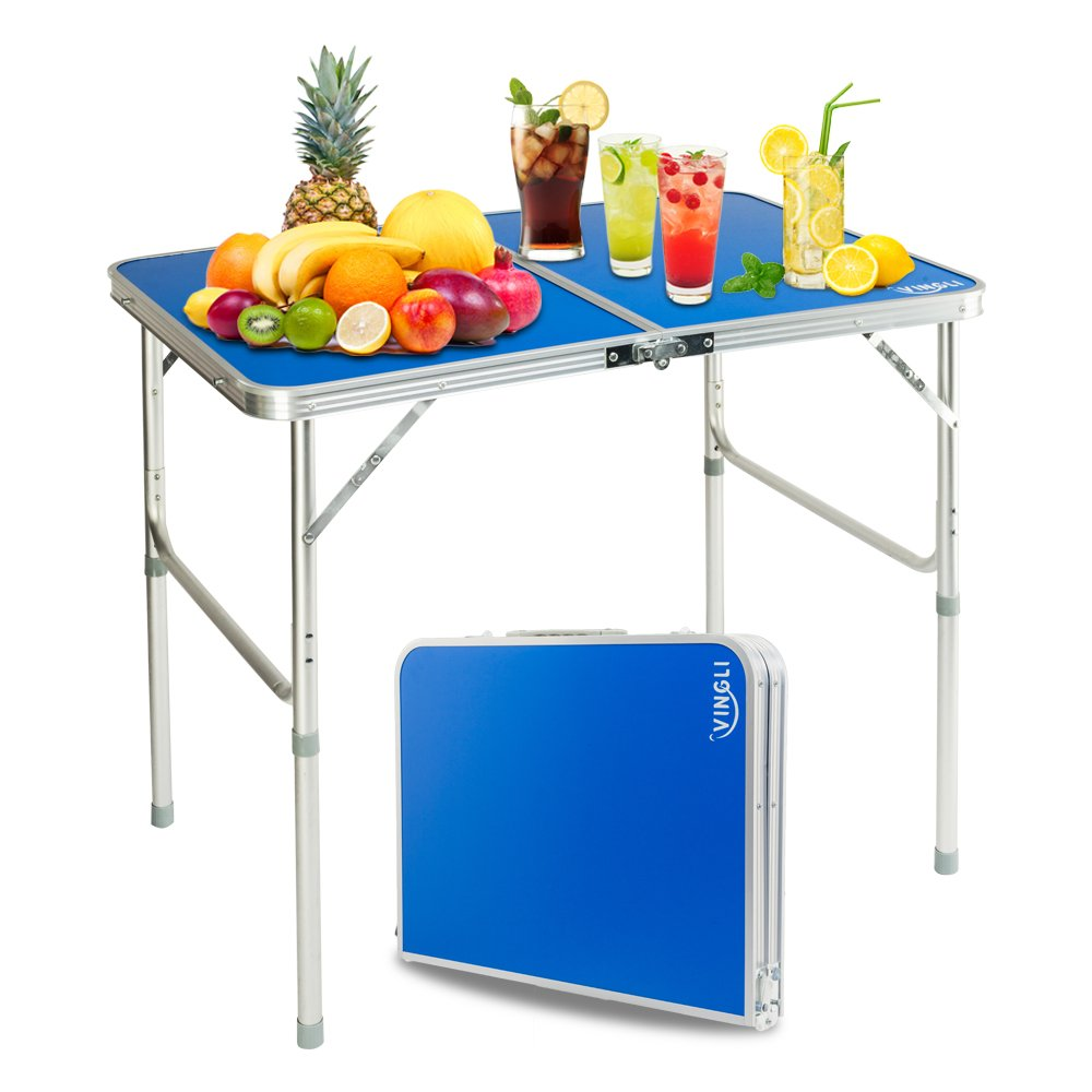 VINGLI Folding Camping Table with Carrying Handle, Portable Height Adjustable Legs, Multi Purpose for Indoor Outdoor, Party, Picnic, Dining, Beach, Backyards, BBQ