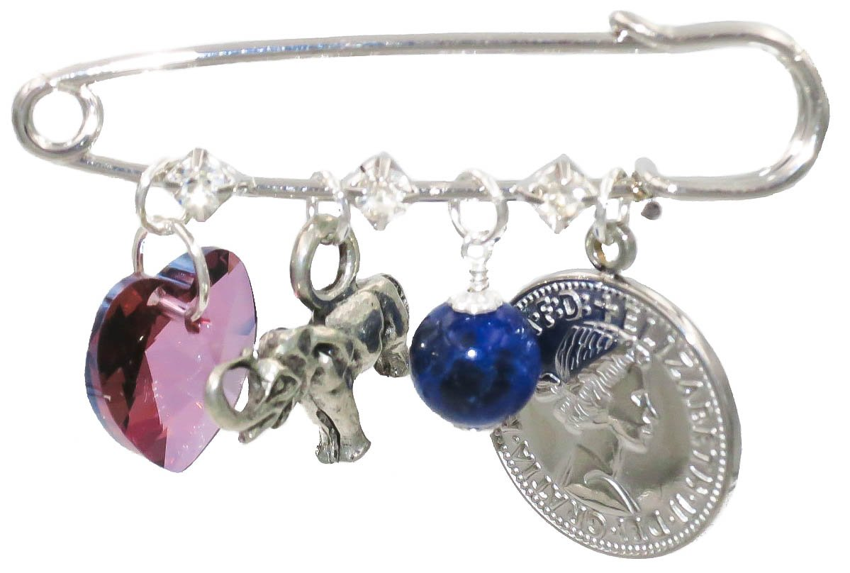 Purple Heart, Elephant, Stone and Six Pence Bridal Pin