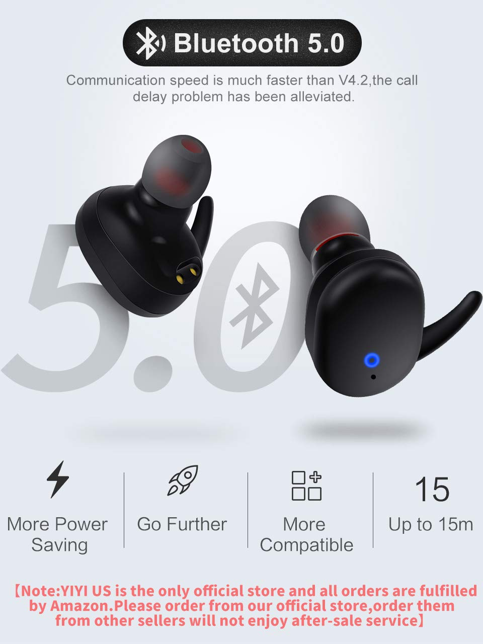 aae3fee5723542 Amazon.com: Wireless Earbuds,Upgraded Bluetooth 5.0 Bluetooth Earphones  True Wireless Earbuds Stereo Hi-Fi Sound Wireless Headphones with Mic  Charging Case ...