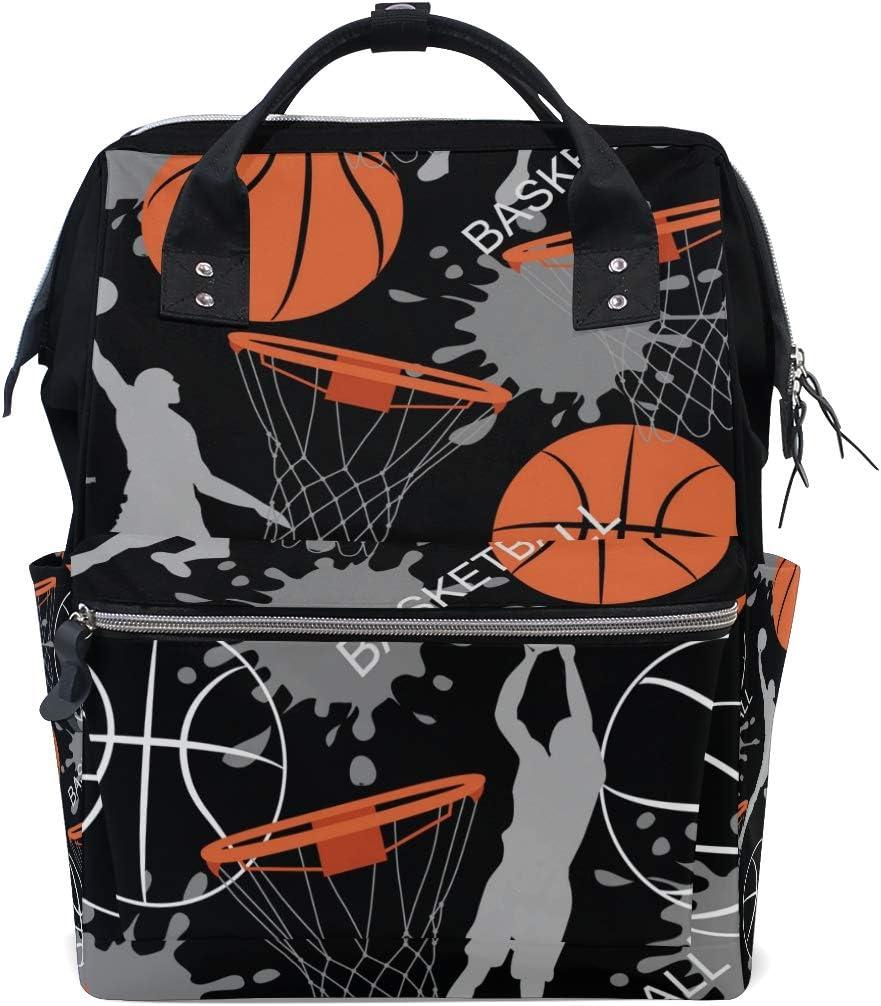 WowPrint - Bolsa para pañales de baloncesto deportivo, organizador de gran capacidad, multifunción, mochila de viaje para el cuidado del bebé