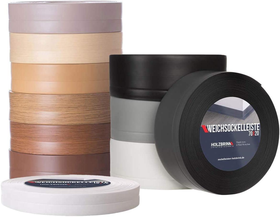 20 m HOLZBRINK Perfil de Remate Suave Gris Pre Cortado Perfil de PVC 70x20 mm