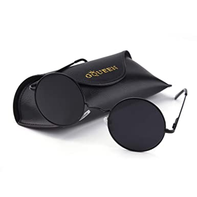 16d2e62d0ed GQUEEN Classic Lennon Round Polarized UV400 Protection Sunglasses with Vintage  Circle Metal Frame Spring Hinge MEZ1  Amazon.co.uk  Clothing
