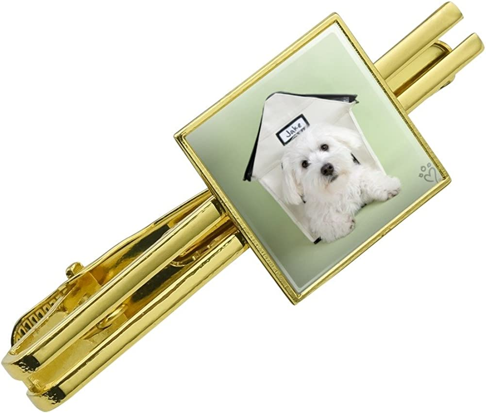 Graphics and More Bichon Frise Maltese Puppy Dog in House Square Tie Bar Clip Clasp Tack Silver or Gold