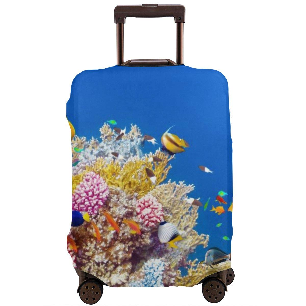 Yuotry Travel Luggage Cover Colorful Coral Floral Zipper Suitcase Protector Luggage with Fixed Buckle Fits 18-32 Inch Luggage XL