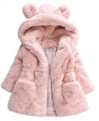 b58115ac5b260 Amazon.com: Kid Girls Fur 3D Cartoon Ear Hooded Coats Winter Thick Warm  Jackets Outerwear: Clothing