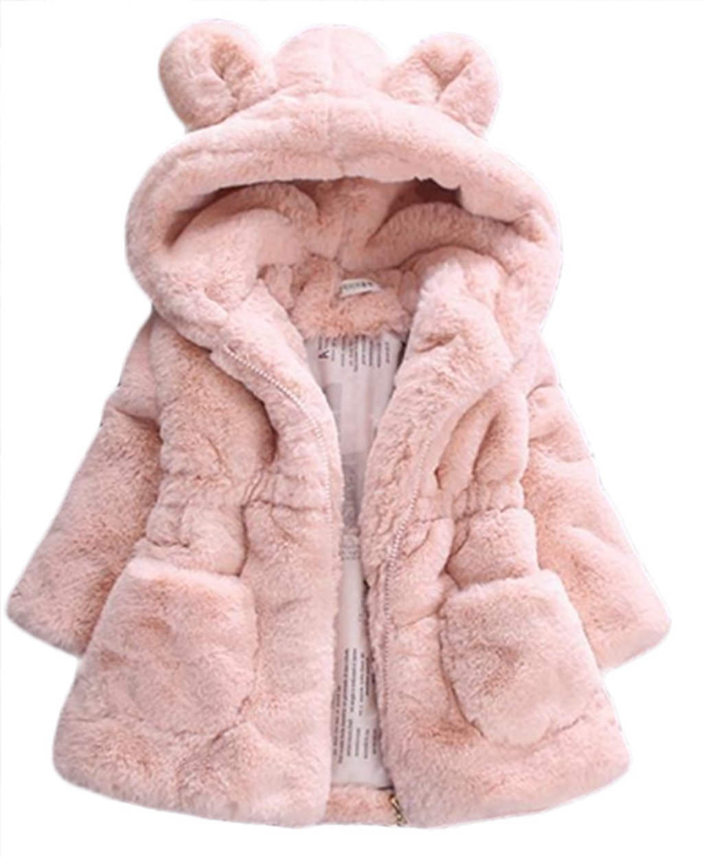 Kid Girls Fur 3D Cartoon Ear Hooded Coats Winter Thick Warm Jackets Outerwear size 5-6Years/130 (Pink)