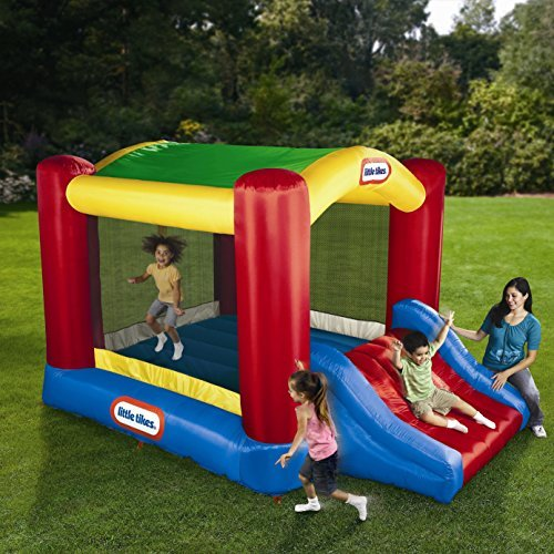 New Super Mighty House Bounce Shady Inflatable Castle Jump 'n Slide Bouncer Blower Moonwalk Trampoline Jump by liltikes