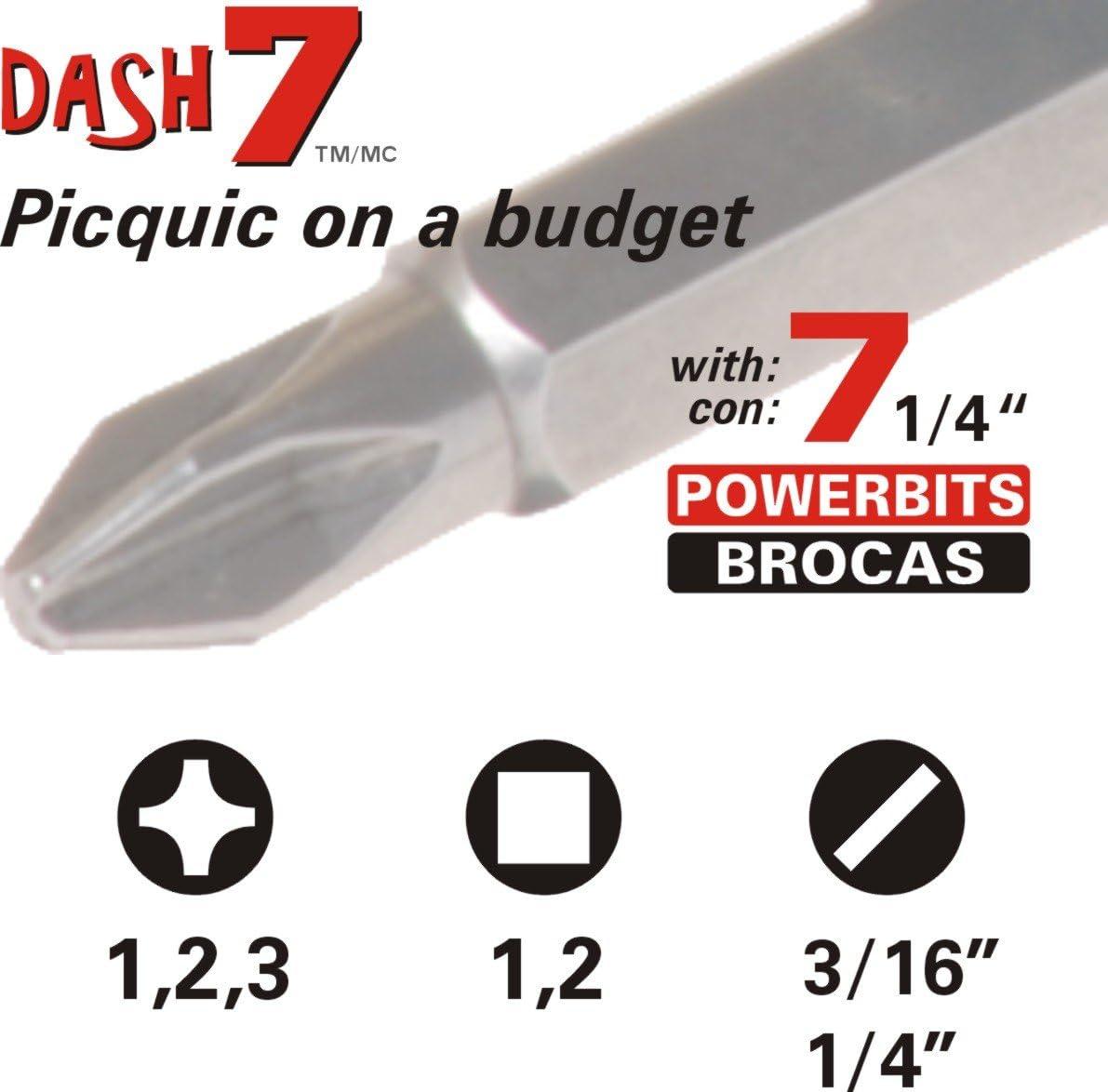 picquic 47123/Dash 7/Multi-Bit Schraubendreher mit sieben Bits budget-friendly Treiber smaragd gr/ün transparent