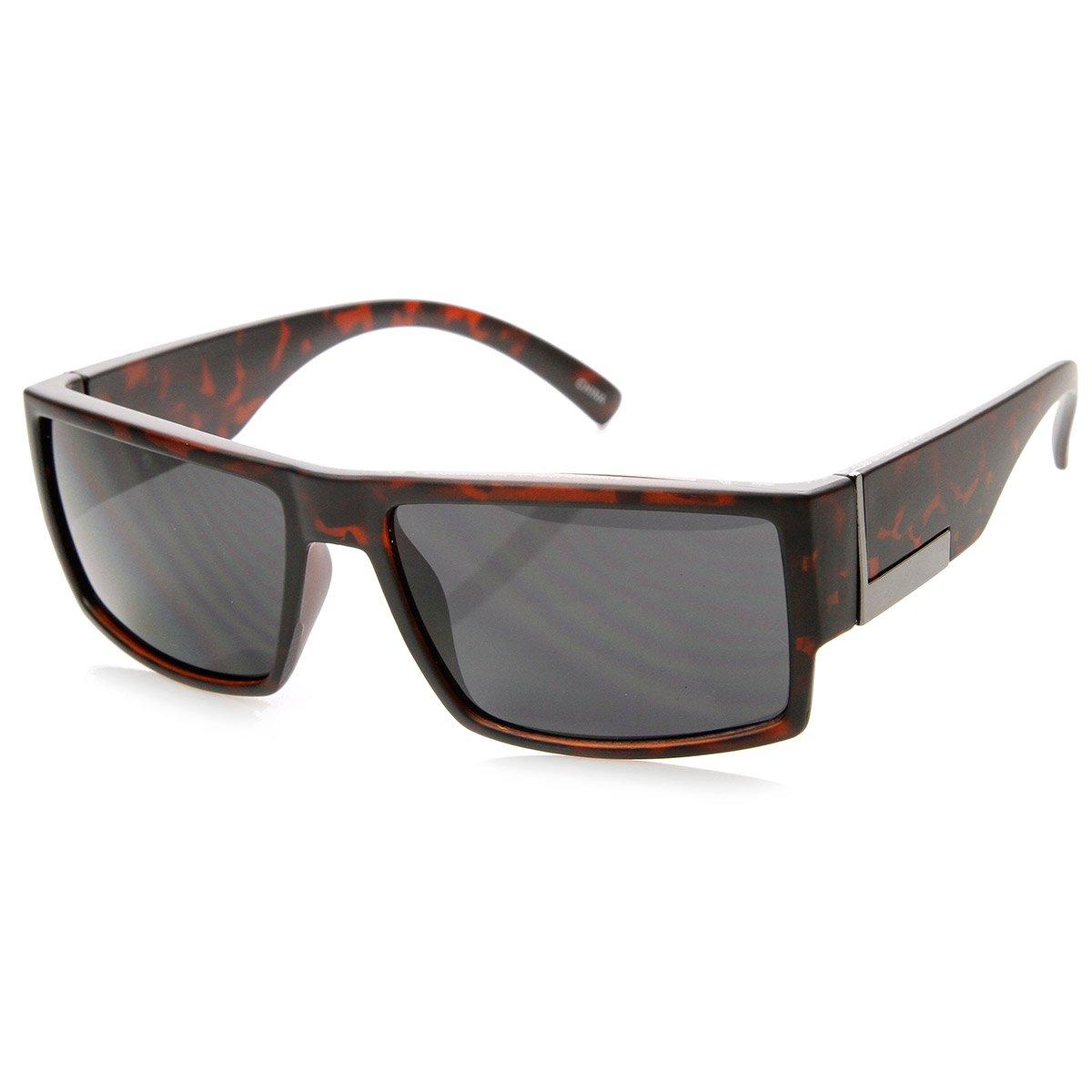 Mens Action Sports Basic Rectangular Frame Sunglasses (Matte-Tortoise Smoke)