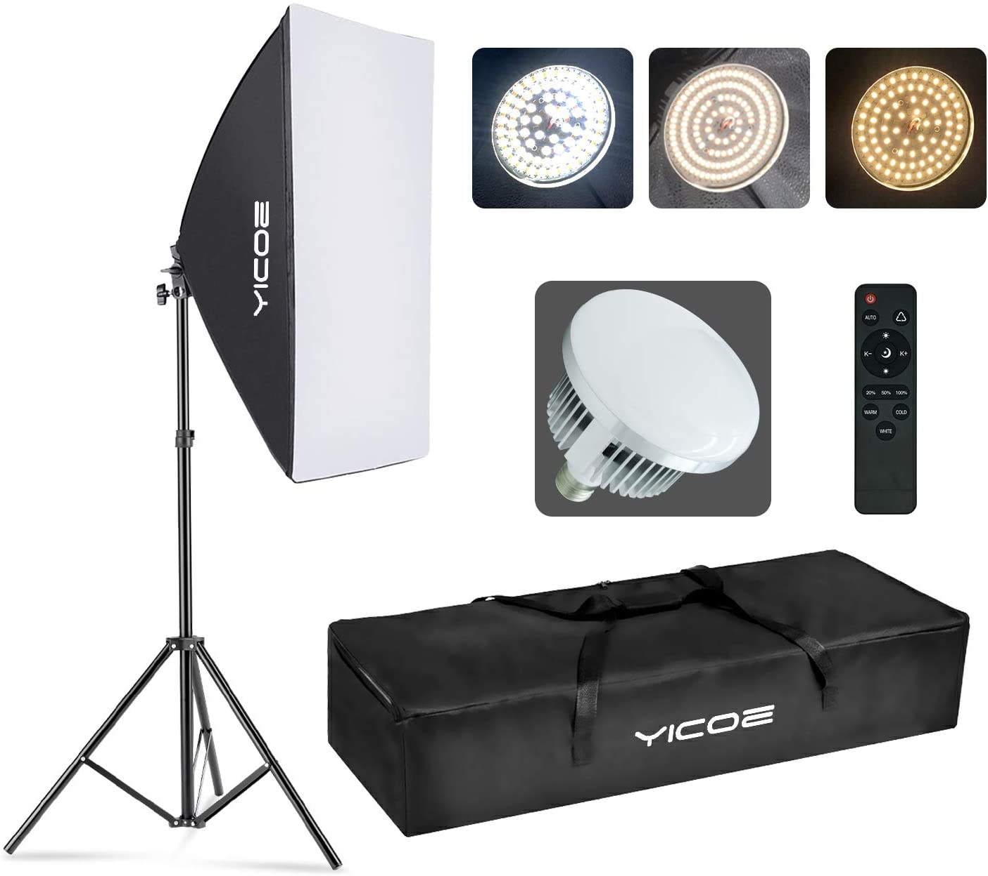 Amazon Com Yicoe Softbox Photography Lighting Kit Professional Photo Studio Equipment 20 X28 Studio Photography Light With 5700k Energy Saving Light Bulb For Filming Youtube Video Model Advertising Shooting Camera Photo