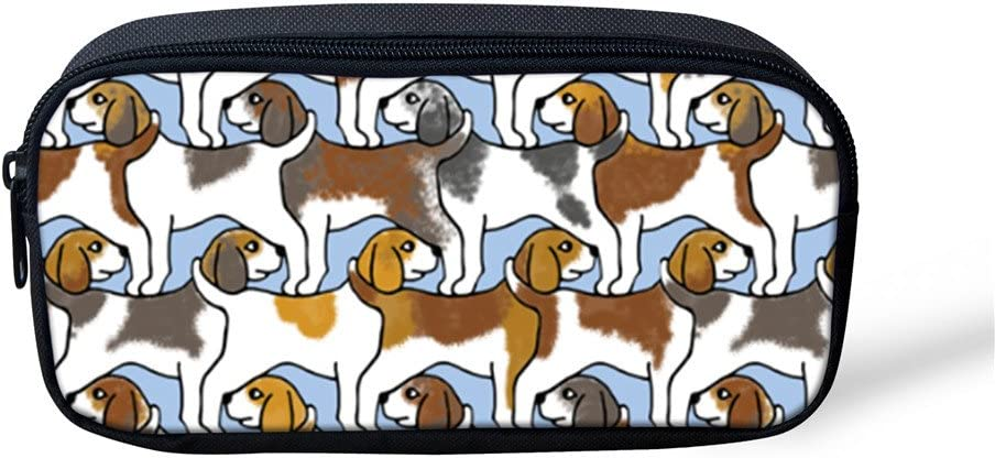 Dog Printed Pencil Bag Large Capacity Pouch Canvas Portable for Student Kids Pen Box