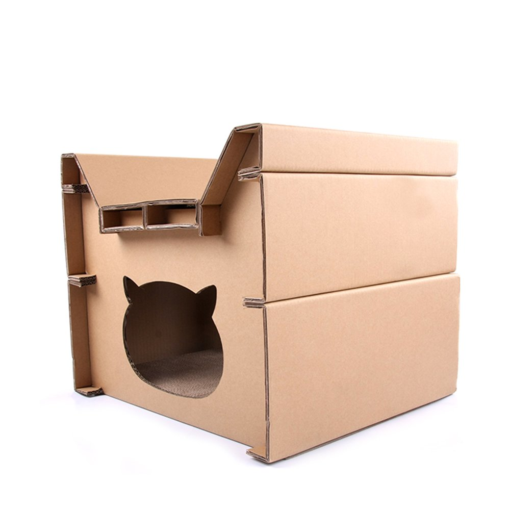 Darius Cat Scratcher Corrugated Scratching House DIY Style for Pet Lounge Toy or Bed Catnip Included