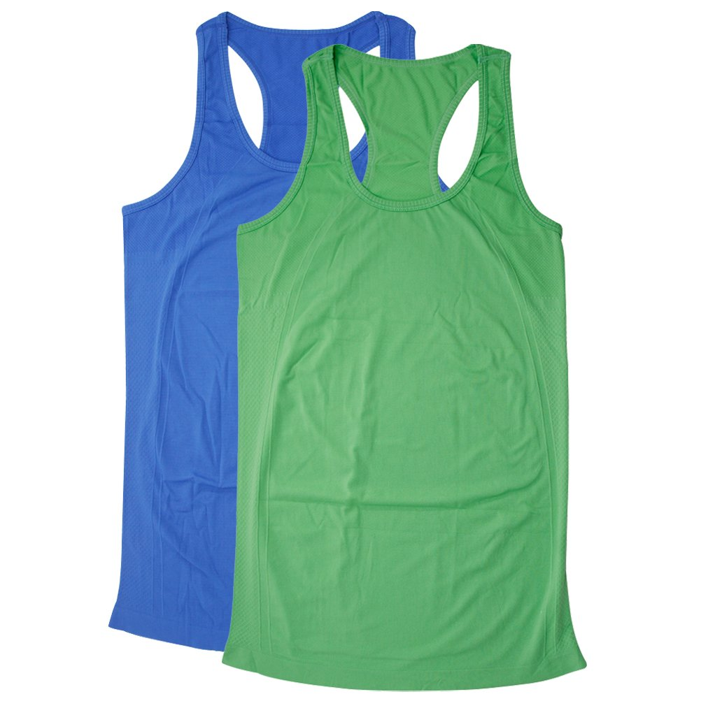 BollyQueena Tank Tops for Women, Women's Sports Clothing Camisoles Workout Gym Fitness Exercise Top S 2 Packs Blue&Green