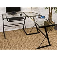 3-piece L-Shaped Desk with Clear Glass and Black Frame