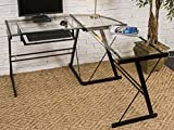 3-piece L-Shaped Desk with Clear Glass and Black Frame For Sale