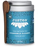 JusTea Chamomile Cleanse | Loose Leaf Herbal Tea with Hand Carved Tea Spoon | 40+ Cups (45g) | Caffeine Free | Award…