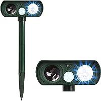 Anti Barking Device, Flashing Light Device with Outdoor Weatherproof Solar Energy, Ultrasonic Animal Bark Chaser for…