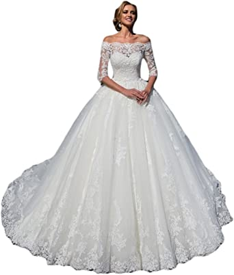 Off Shoulder Long Sleeves Ball Gown Lace Tulle Wedding Dresses Bridal Gowns 2022