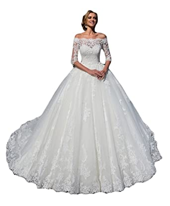 026e0223dec Ri Yun Women s Wedding Dresses Ball Gown Long Sleeves Lace Tulle Off The Shoulder  Wedding Dresses Bride 2019 3 4 Sleeves at Amazon Women s Clothing store
