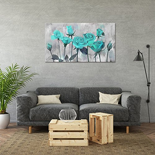 Visual Art Decor Flowers Painting Prints Antique Blooming Teal Rose on Grey Picture Printed on Canvas Wrap Floral Art Decal for Home Living Room Bedroom Wall Decoration 02 Green, 20 x36