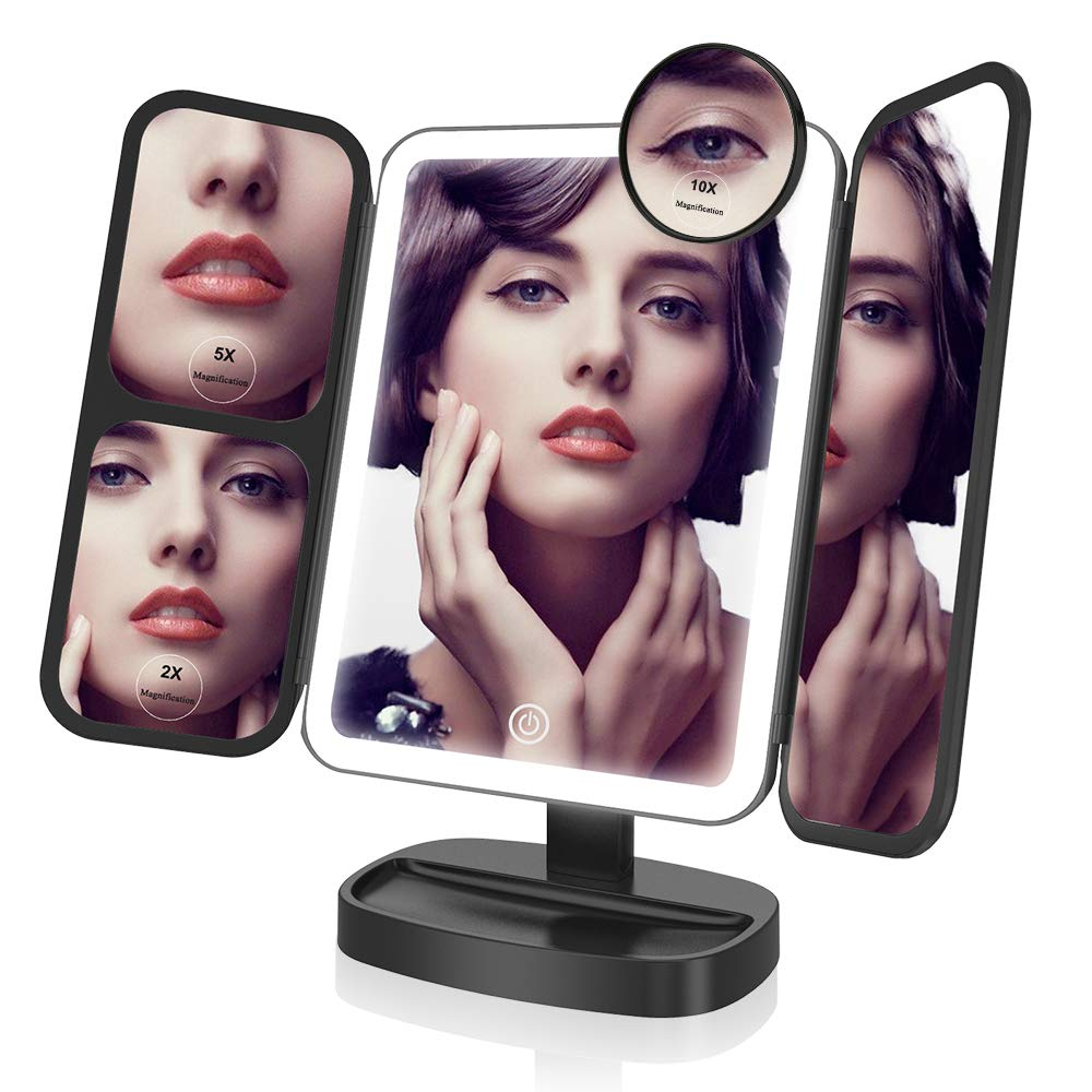 Espejo maquillaje con luz LED 2X5X10X, Espejo tríptico con luz ajustable Blanco EASEHOLD
