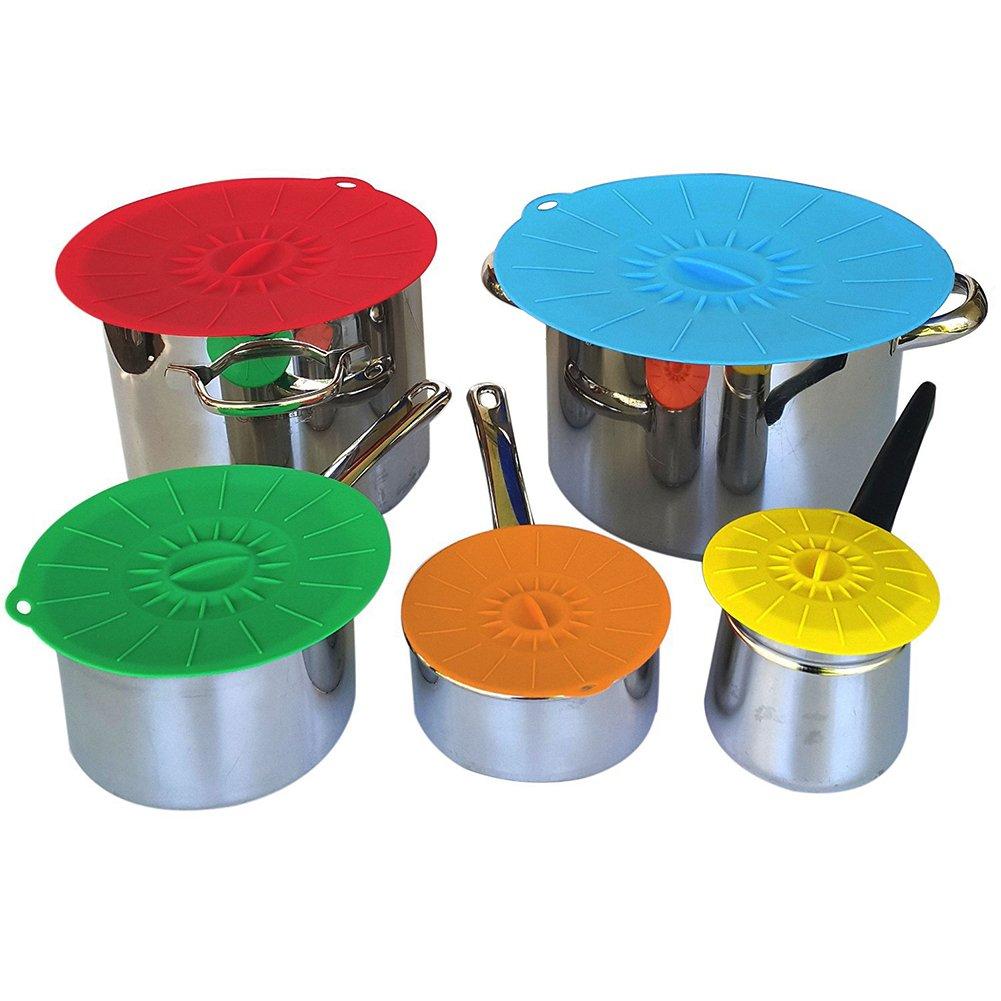 JJLng Silikon Deckel,Schussel Mit Deckel Silikon Seal Covers K/üchen Zubeh/ör 5 St/ück Set