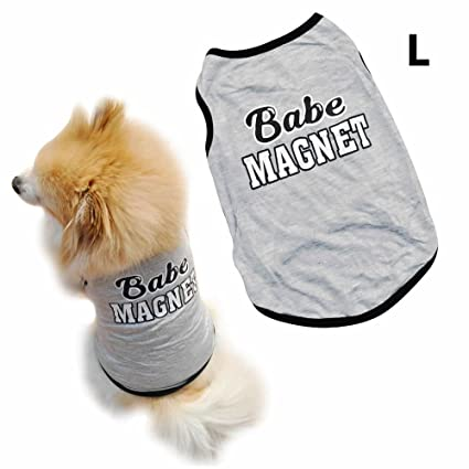 AStorePlus Lovable Babe Magnet Design Dog Vest, Puppy Dog Cat T Shirts Clothes Summer Pets