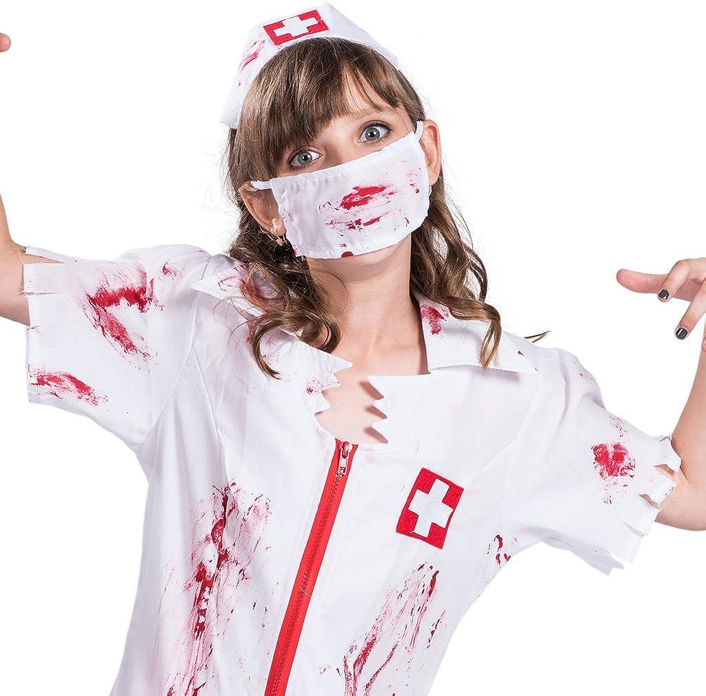 EraSpooky Disfraz Vestido de Halloween de Enfermera Zombie para ...
