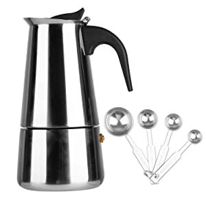 Stovetop Espresso Maker Stainless Steel Moka Pot Coffee - 6 Cup with Coffee Scoops Measuring Spoons.