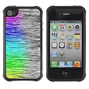 Be-Star único patrón Impacto Shock - Absorción y Anti-Arañazos Funda Carcasa Case Bumper Para Apple iPhone 4 / iPhone 4S ( Cool Rainbow Art Brushed Pattern )