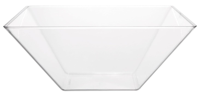 Set of 4 Break Resistant Premium Square Design Clear Acrylic Serving Bowls 63.5 oz Party Snack or Salad
