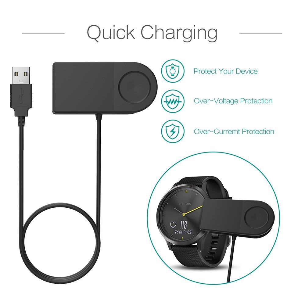TUSITA Cargador para Garmin Forerunner 35 230 235 630 645 Music 735XT,Approach G10 S20,Vivomove HR - Cable de carga USB 100cm pinza de la base - Reloj ...